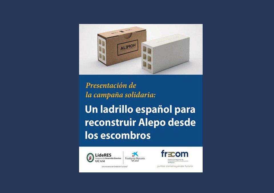 """El encuentro """"Líderes"""" de la UCAM dedica su próxima cita los empresarios de la construcción y la participación de FRECOM en la campaña solidaria ALEPO 10 FRECOM"""