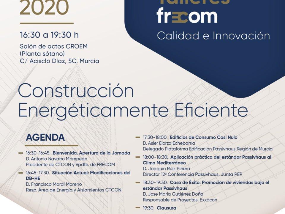 Cartel de los 'Talleres FRECOM' sobre 'Construcción energéticamente eficiente'