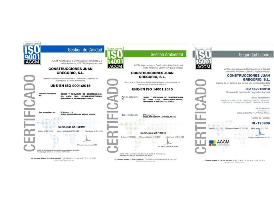 Construcciones Juan Gregorio, empresa comprometida con la Seguridad Laboral, la Gestión Ambiental y la Gestión de Calidad 4 FRECOM