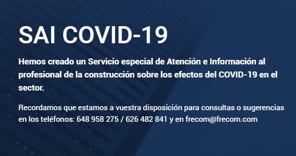 FRECOM atiende más de 600 consultas a través del Servicio especial de Atención e Información al profesional de la construcción durante el estado de alarma 2 FRECOM