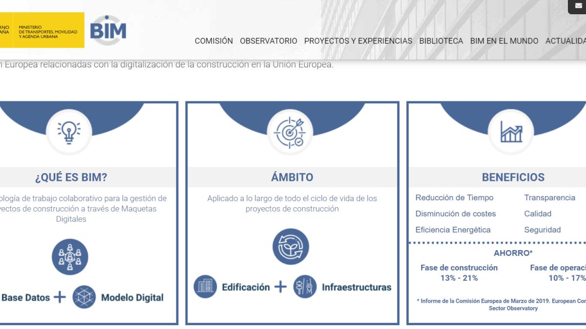 La Comisión Interministerial para la incorporación de la metodología BIM en la licitación pública estrena web 2 FRECOM