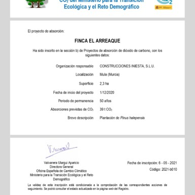 Proyecto de absorción de CO2 del Ministerio para la Transición Ecológica y el Reto Demográfico 3 FRECOM