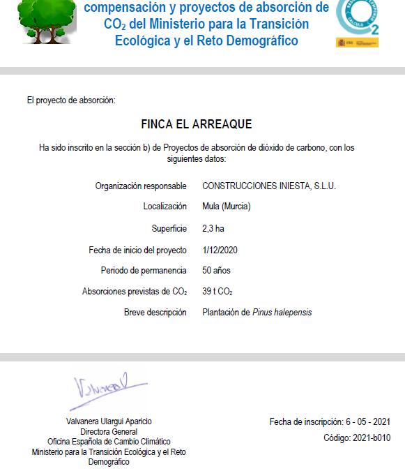 Construcciones Iniesta SLU, primera empresa en la Región en conseguir el certificado de Registro de huella de carbono, compensación y absorción de CO2 con su proyecto Finca 'El Arreaque' 2 FRECOM