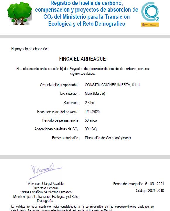 Construcciones Iniesta SLU, primera empresa en la Región en conseguir el certificado de Registro de huella de carbono, compensación y absorción de CO2 con su proyecto Finca 'El Arreaque' 4 FRECOM