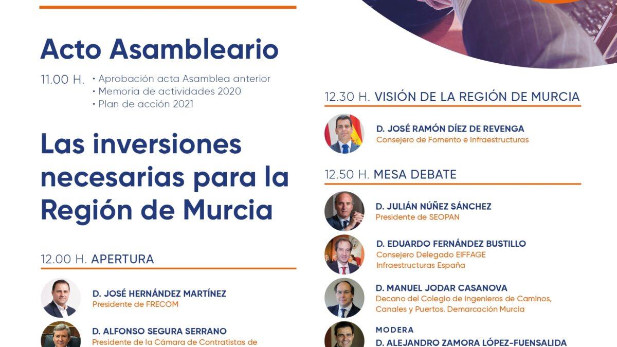 Los Contratistas de Obra Pública celebran a partir de las 11 horas su Asamblea General 2 FRECOM