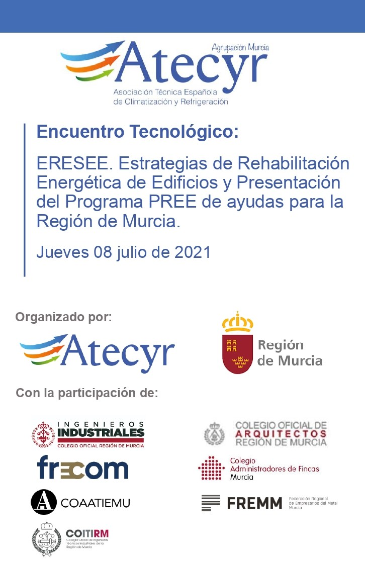 Atecyr, junto con la Dirección General de Energía, Actividad Industrial y Minera y la participación de FRECOM, convocan una jornada sobre la rehabilitación energética de edificios el próximo 8 de julio. 31 FRECOM