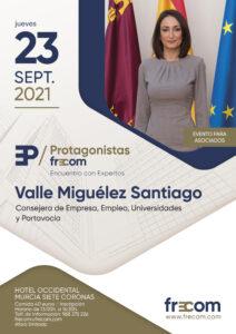 """Valle Miguélez, consejera de Empresa, Empleo, Universidades y Portavocía, próxima invitada en """"Protagonistas FRECOM"""" 3 FRECOM"""